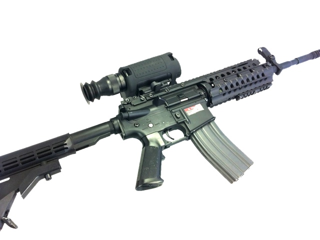 The T14x thermal scope mounted on an M4 black rifle